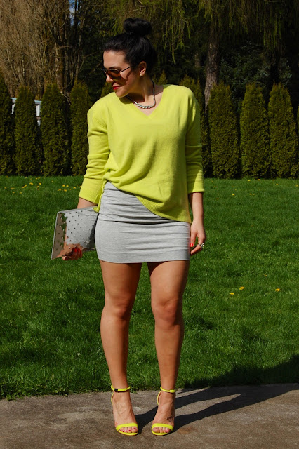 Joe Fresh cashmere sweater, Forever 21 skirt, Prabal Gurung for Target heels and Ela Editor's Pouch clutch