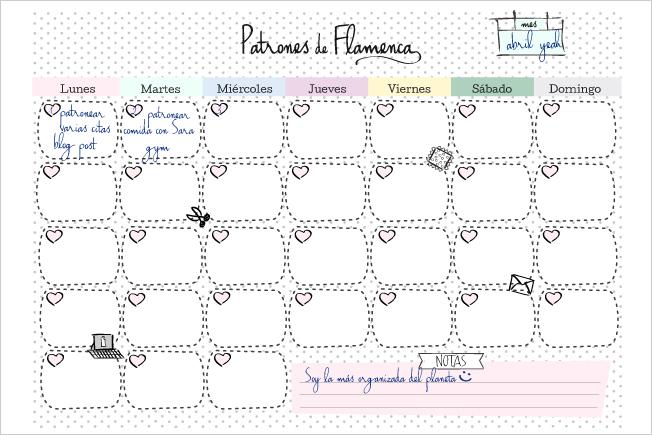 Calendario de trabajo de patrones de flamenca
