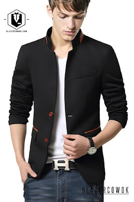 BLAZER SINGLE BUTTON dengan List Merah