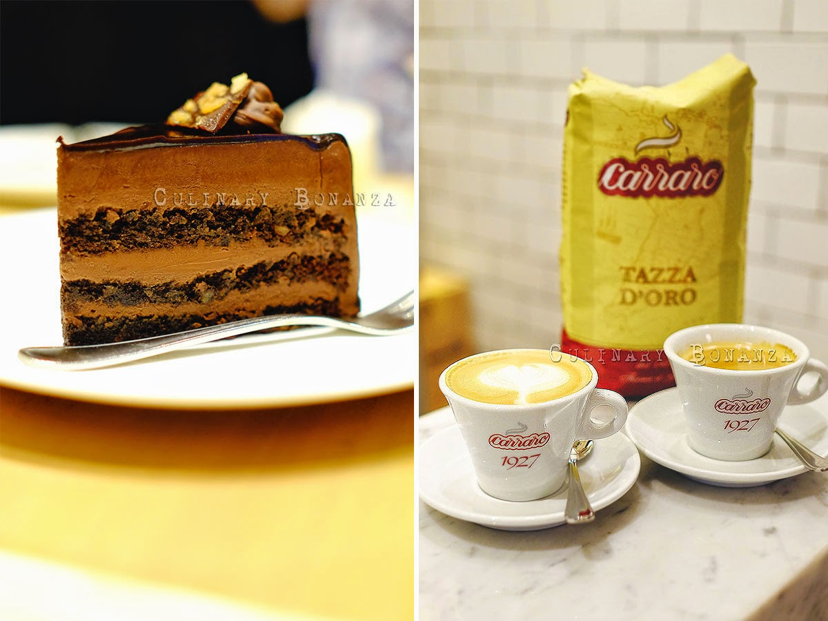 Left: Hazelnut Dark Chocolate Cake IDR 42,000 / slice Right: Cappuccino IDR 25,000 | Black Coffee IDR 17,000