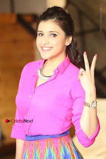 Actress Mannar Chopra in Pink Top and Blue Skirt at Rogue movie Interview  0010.JPG