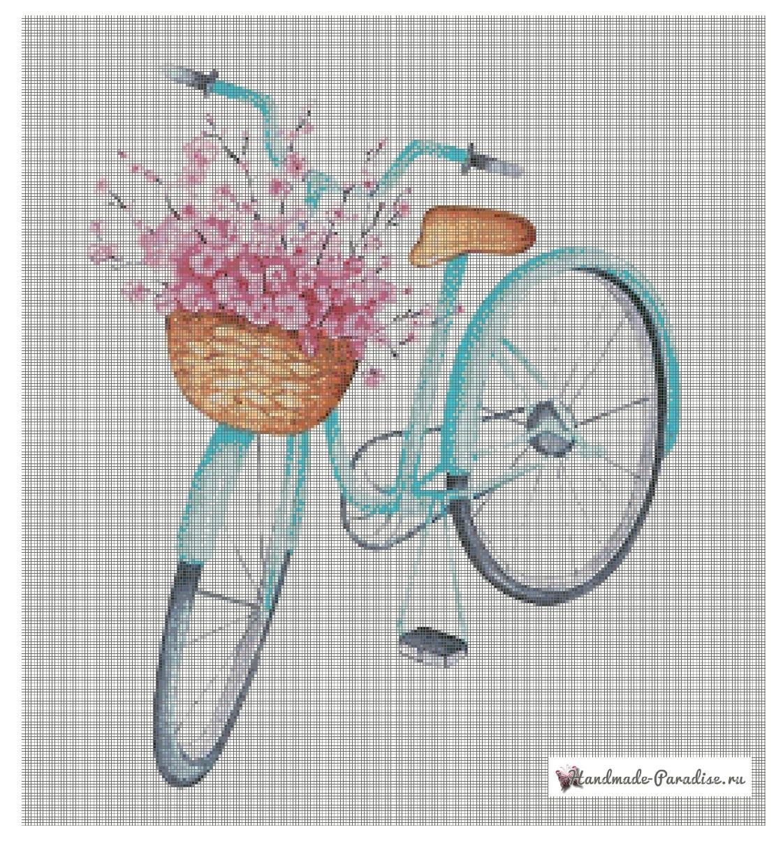 Велосипед с корзиной цветов - схемы вышивки крестом (6)