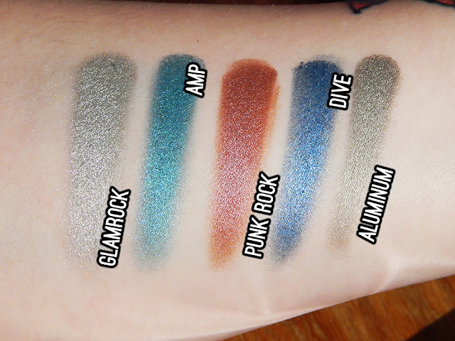 Urban Decay Heavy Metals holiday eyeshadow palette - Aluminium, Dive, Punk Rock, Amp, Glamrock swatches