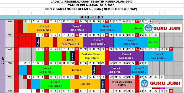 File Pendidikan Download Jadwal Pelajaran Tematik Kurikulum 2013 Tahun Pelajaran 2019/2020 Kelas 5 (Lima) SD/MI Semester 1 dan 2