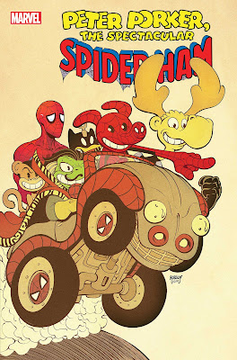 A cartoon car with Spider-Ham, a nervous looking Spider-Man and other comedy versions of Marvel characters