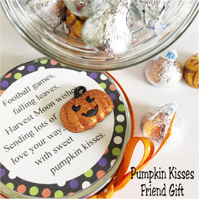 Send your love to your ministering friends, your kids, or your neighbors with this Pumpkin Kisses Halloween gift.  With a few treats and a little love, you'll be giving this candy jar in no time at all. #pumpkin #halloweengift #candyjar #halloweencandy #diypartymomblog