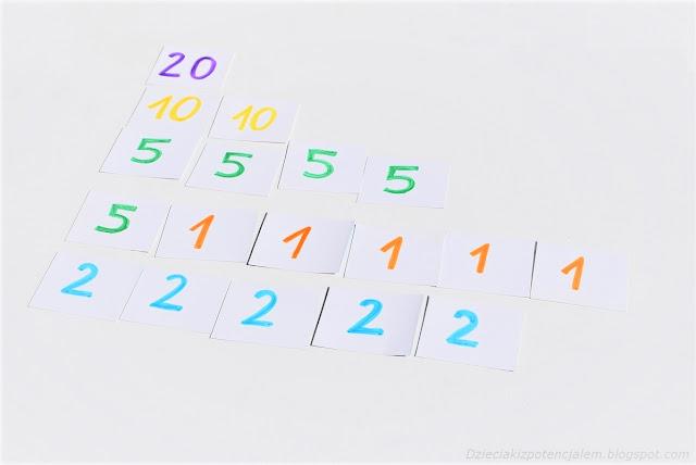 tworzymy wybranie liczby dodając do siebie kilka mniejszych liczb