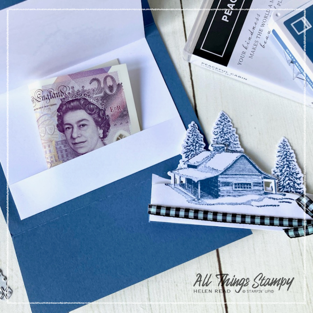 Stampin Up Peaceful Cabin Christmas gift wallet UK demonstrator
