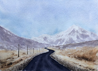 A water colour painting of road to Gurudongmar Lake, By Manju Panchal