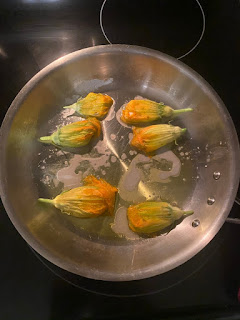 Squash Blossoms in Pan