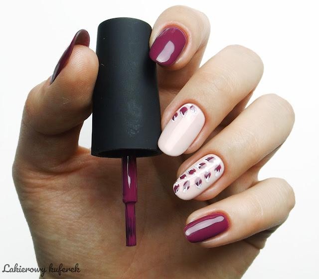 Kinetics nails, hybrydy Kinetics, Bordo Kinetics, Listki bordo, paznokcie bordowe