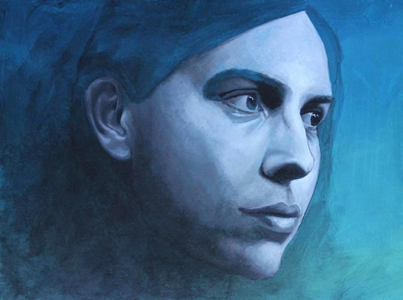 Figurative Blue Paintings by Zrinka Budimlija.