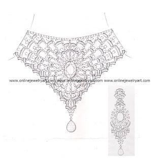 diamond choker necklace design sketches