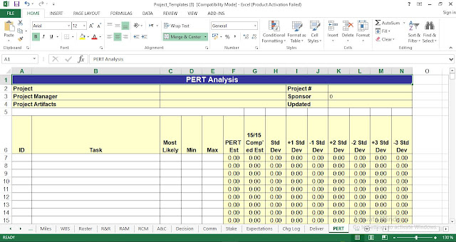 PERT Analysis Template Excel