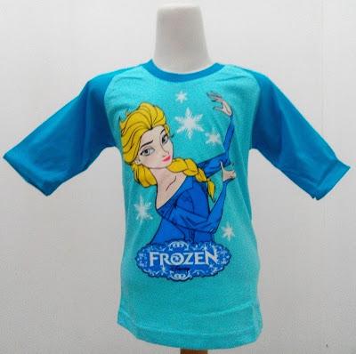 Kaos Raglan Anak Karakter Frozen Elsa 2 Biru
