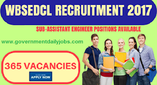 WBSEDCL Recruitment 2017 Application of 365 Sub Asst Engineer Vacancy