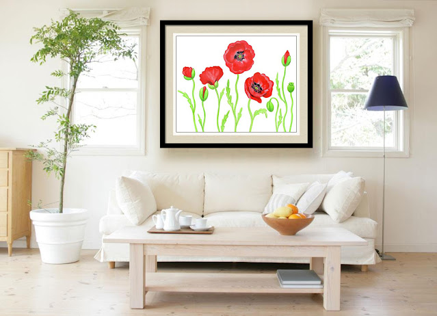 Watercolor Red Poppies Painting In Interior Decor