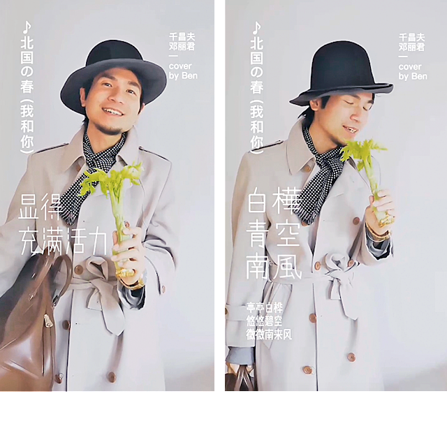 LP vinyl disc record cover, Japanese Enka singer, artist, cover song, vintage style, 80s, 90s, 70s, Japan, vintage Manswear, stylish man in beigen trench coat, melon hat, crushable wool hat, leather bag, golden watch, funny Karaoke, singing with celery as microphone