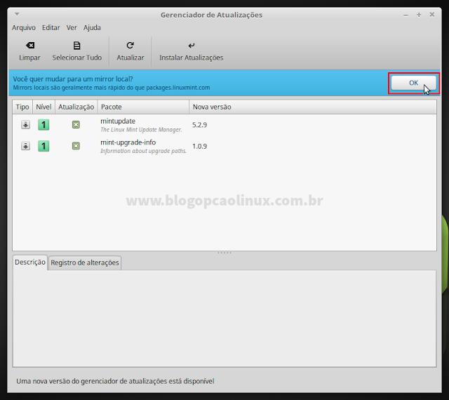 """Clique em """"OK"""" para alterar o espelho de download dos pacotes/atualizações"""