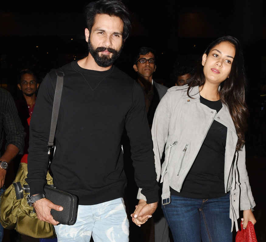 Shahid Kapoor With Wife Mira Rajput at The Airport In Mumbai