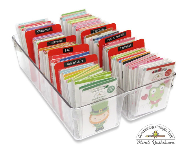 Ways to organize your Doodlebug stickers & other small embellishments by Mendi Yoshikawa