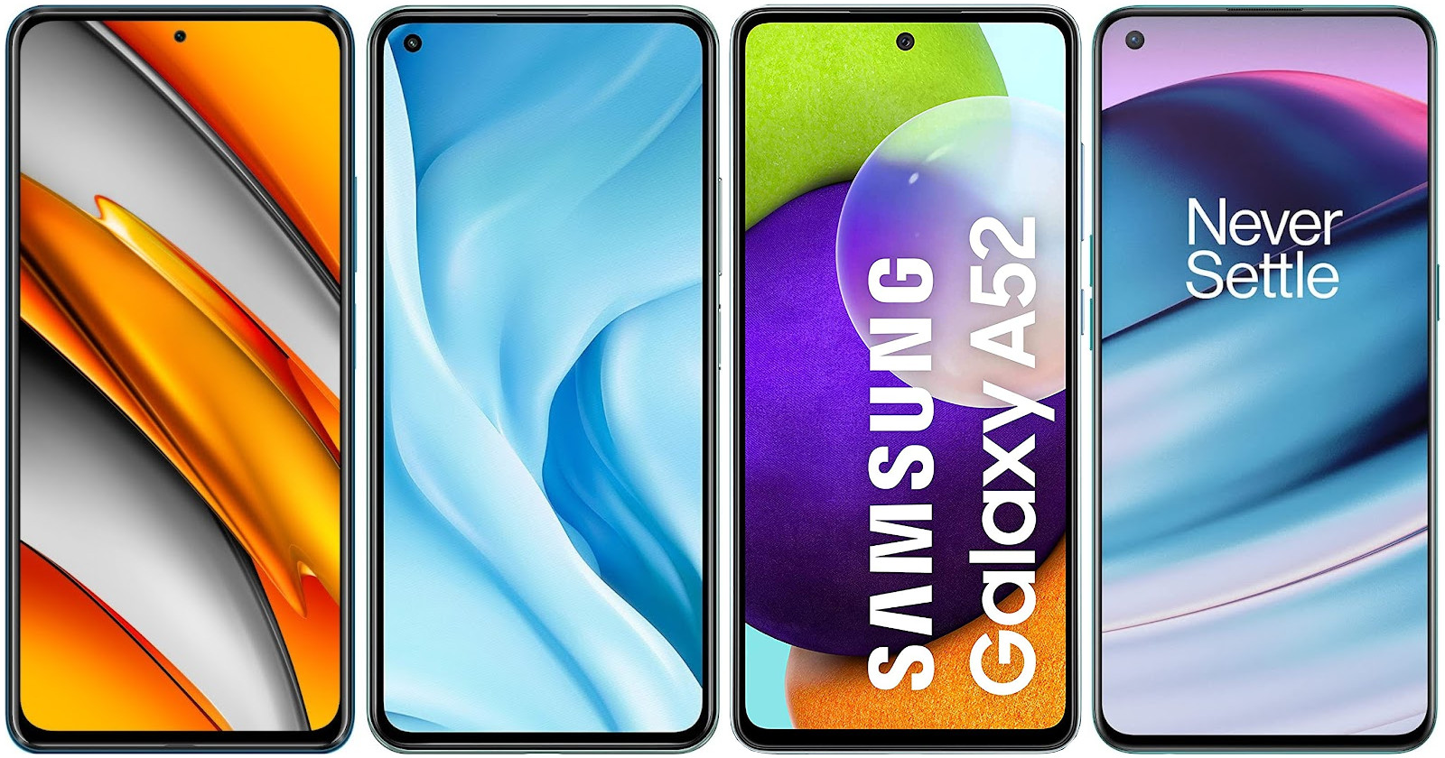 Xiaomi POCO F3 vs Xiaomi Mi 11 Lite 5G vs Samsung Galaxy A52 4G vs OnePlus Nord CE