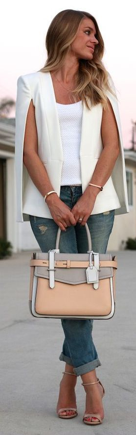 Street Style White Cape Blazer With Color Block Neutral