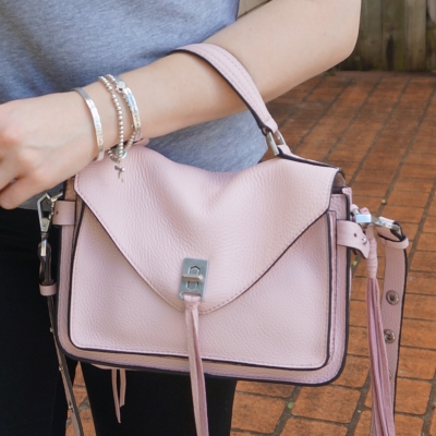 black jeans, Rebecca Minkoff small Darren messenger bag in peony | away from the blue