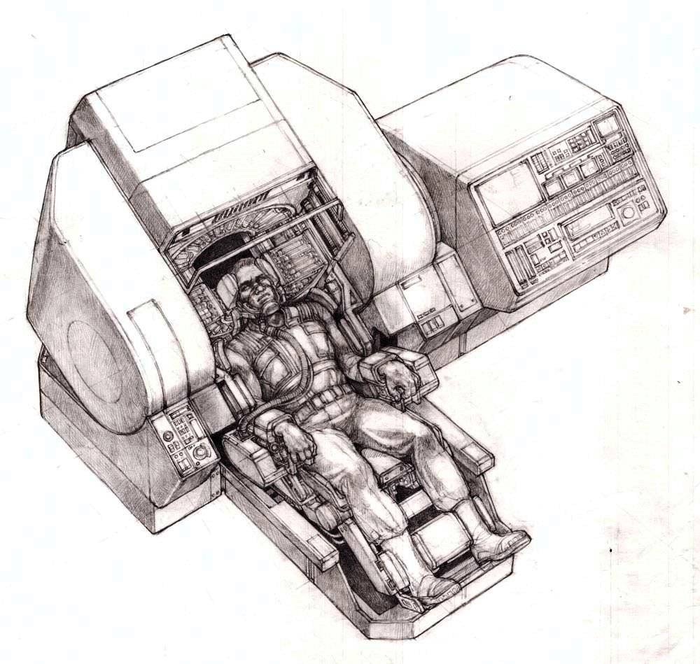 Rekall memory machine concept for Total Recall (1990) movie by Ron Cobb.