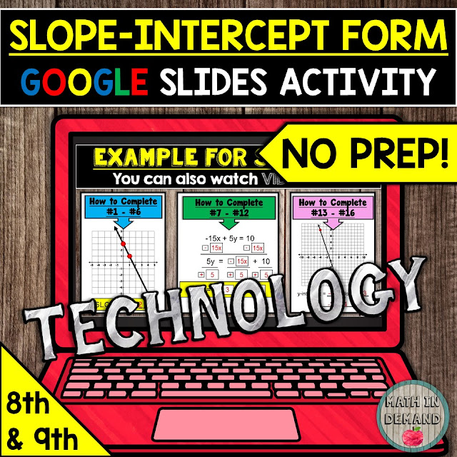 Slope Intercept Form Distance Learning Activity in Google Slides