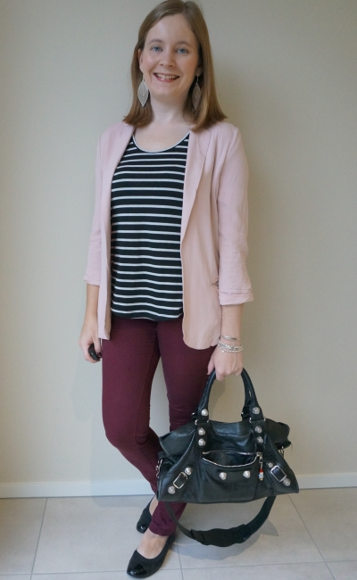 blush blazer and burgundy skinny pants business casual office outfit with striped tank black balenciaga part time bag | awayfromblue
