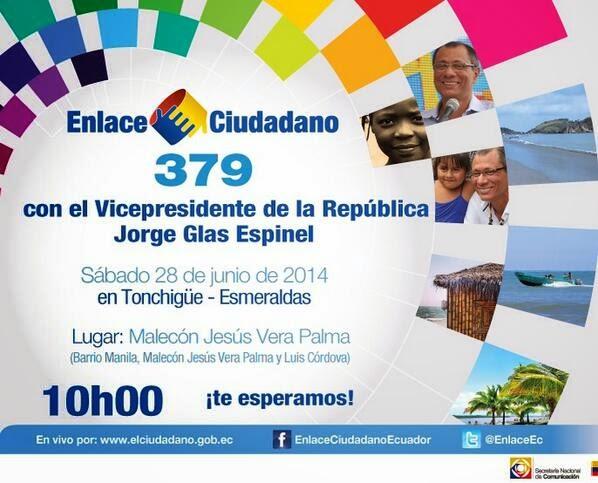 Cadena Sabatina Rafael Correa en Tonchigue Esmeraldas