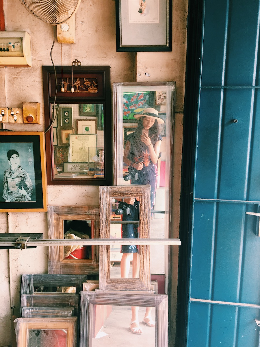 Frames and mirrors at an antique store in Malacca Malaysia