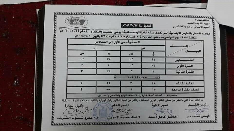 """تعديل مواعيد اليوم الدراسى بمحافظة سوهاج """"مستند"""" 0%2B%25288%2529"""
