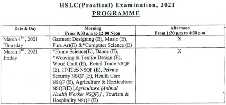 SEBA HSLC Practical Routine 2021
