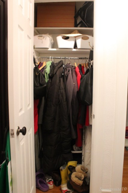 My unorganized front hall closet