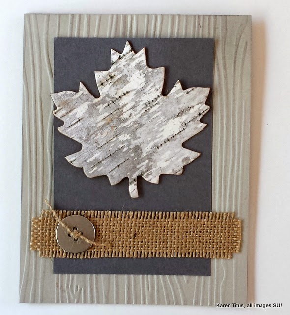Fall leaf card birch bark diy