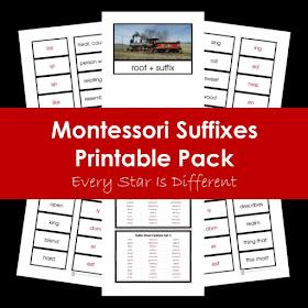 Montessori Suffixes Printable Pack