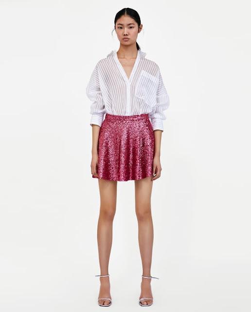 falda midi lentejuelas zara