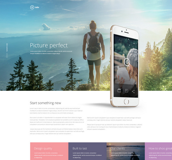 Take Free Mobile App Landing PSD template
