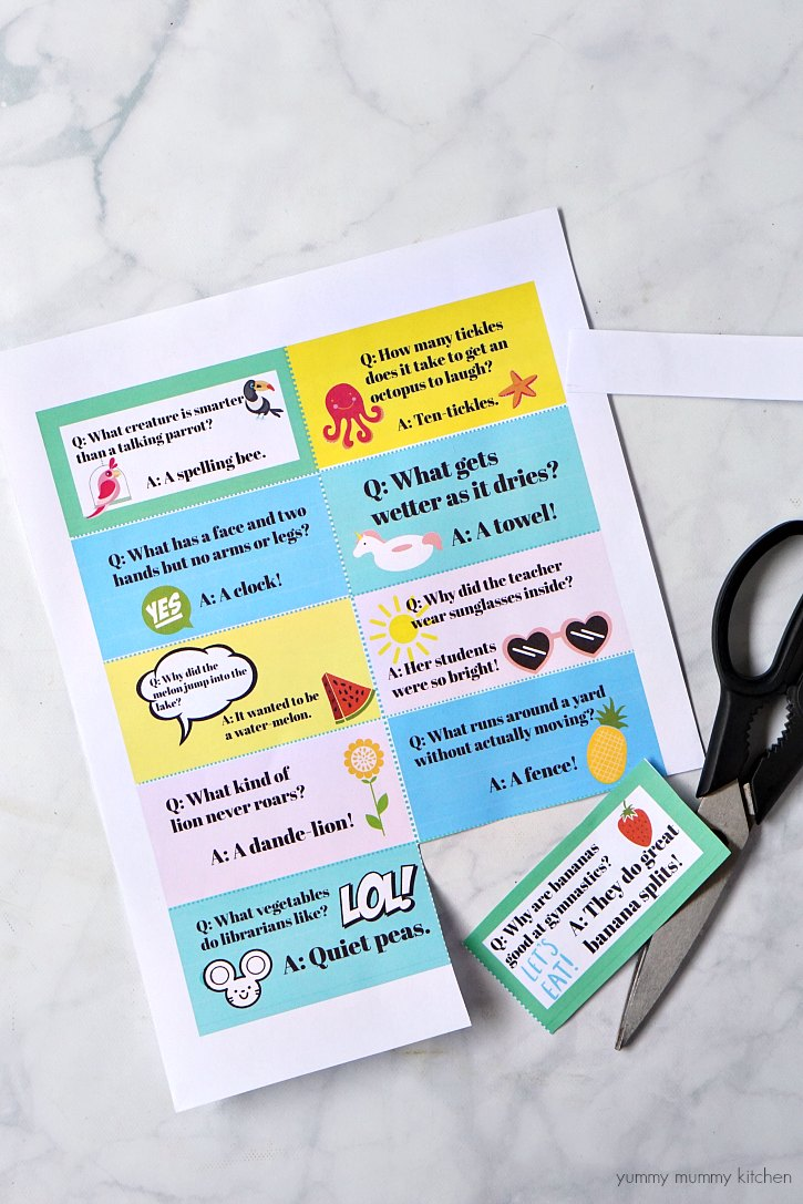 Download and print this sheet of silly lunch box jokes for kids.