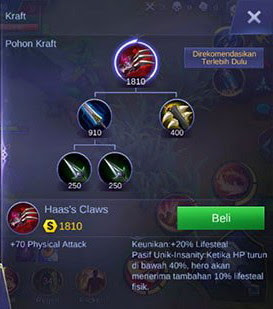 Item pertama build Martis Mobile Legend adalah Haas's Claws