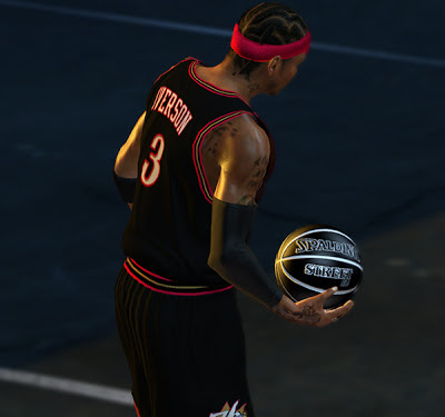 NBA 2K13 Streetball And1 Blacktop Allen Iverson Black Ball Mod