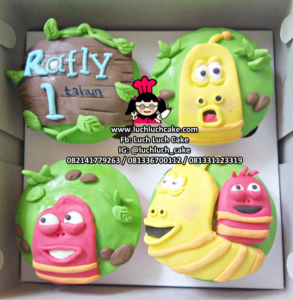 Cupcake Fondant 2d Kartun Larva