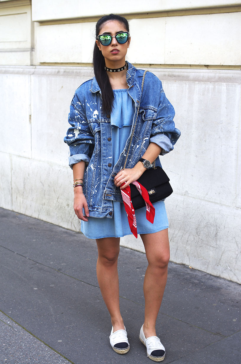 Elizabeth l Casual denim sundays l off the shoulder dress vintage denim Levis jacket Chanel espadrilles Zara choker Chanel bag Quay Australia sunglasses l THEDEETSONE l http://thedeetsone.blogspot.fr