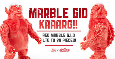 Kaaarg Unpainted Red & Glow in the Dark Marbled Edition Vinyl Figure by Jeff Lamm x Clutter