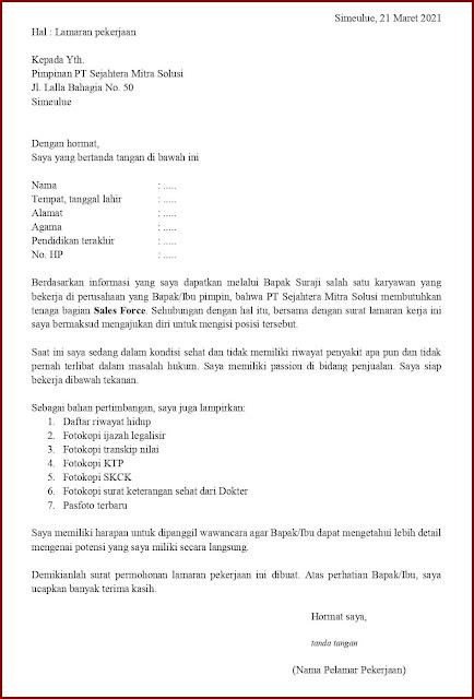 Contoh Application Letter Untuk Sales Force (Fresh Graduate) Berdasarkan Informasi Dari Seseorang