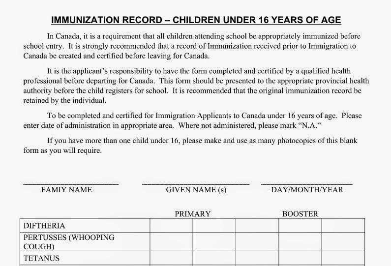 Me Moving To Canada: Immunization Record Requirement for Federal ...
