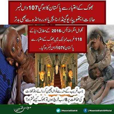 In 118 poor countries Pakistan ranks 107 on Global Hunger Index-بھوک کے اعتبار سے پاکستان کا ہو گیا 107واں نمبر
