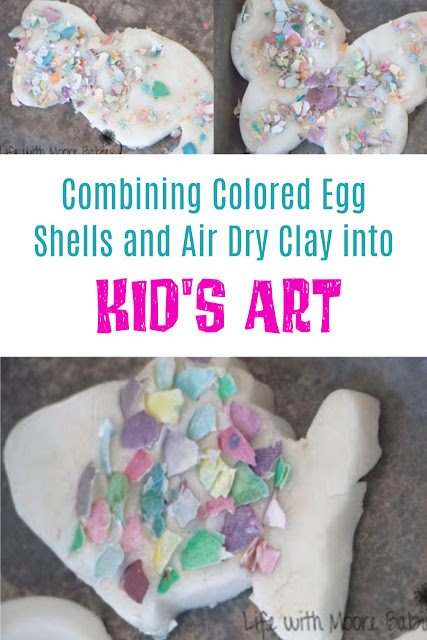 Combine Colored Egg Shells and Clay for Easy Kid's Art